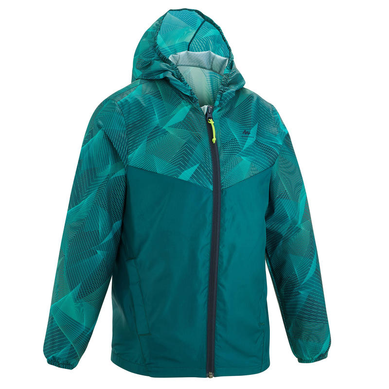 MH150 Kid's Waterproof Hiking Jacket from Age 7 to 15 Years - Turquoise Print