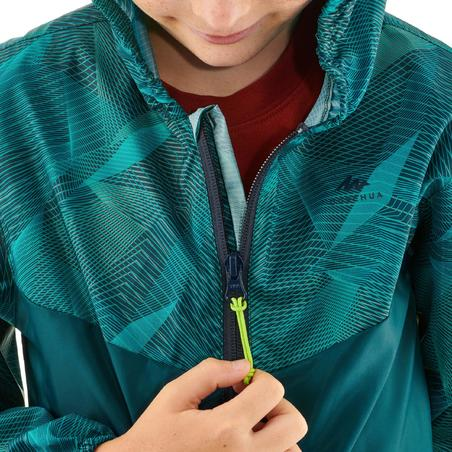 Veste imperméable de randonnée enfant MH150 imprimée turquoise 7 À 15 ANS
