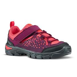 Zapatillas de senderismo júnior con tira autoadherente MH120 LOW violeta 28 A 34