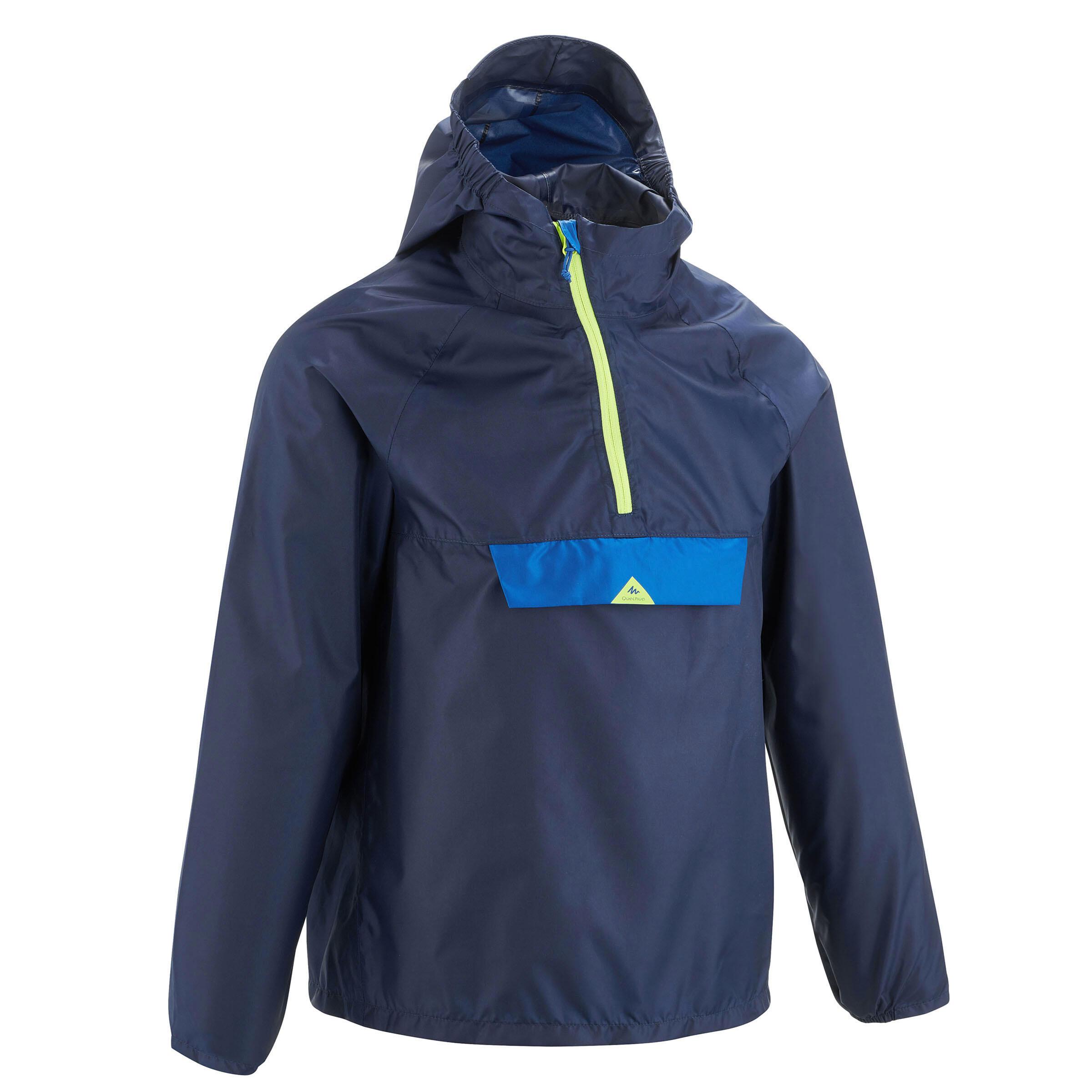 Veste imperméable enfant de randonnée mh100 bleue marine quechua chez Decathlon