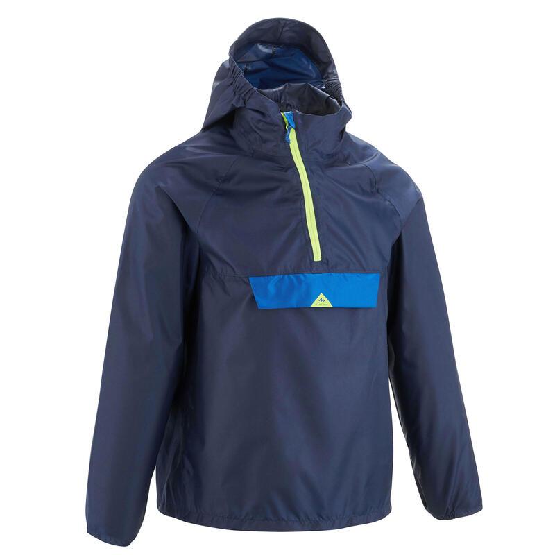 Veste imperméable de randonnée - MH100 bleu marine - Enfants