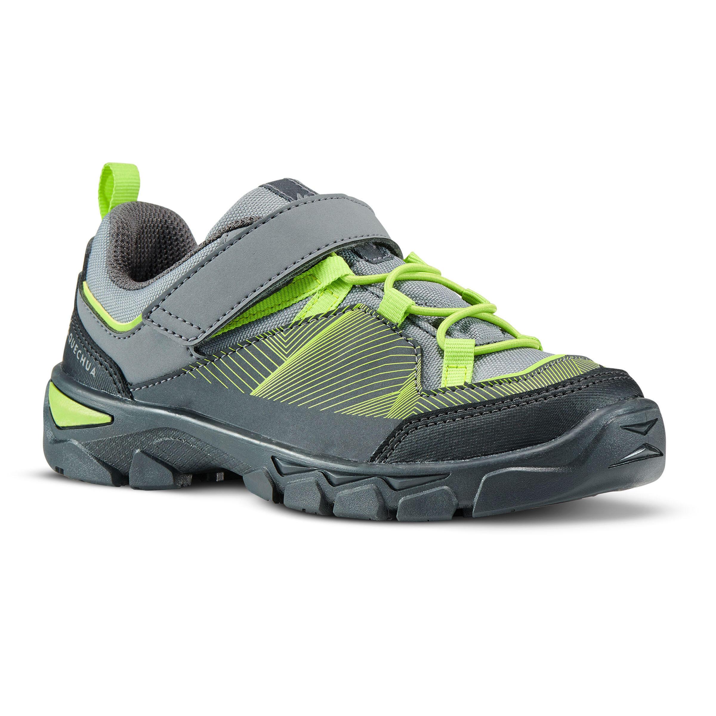 Chaussures de randonnée enfant avec scratch mh120 low grises et vertes 28 au 34 quechua