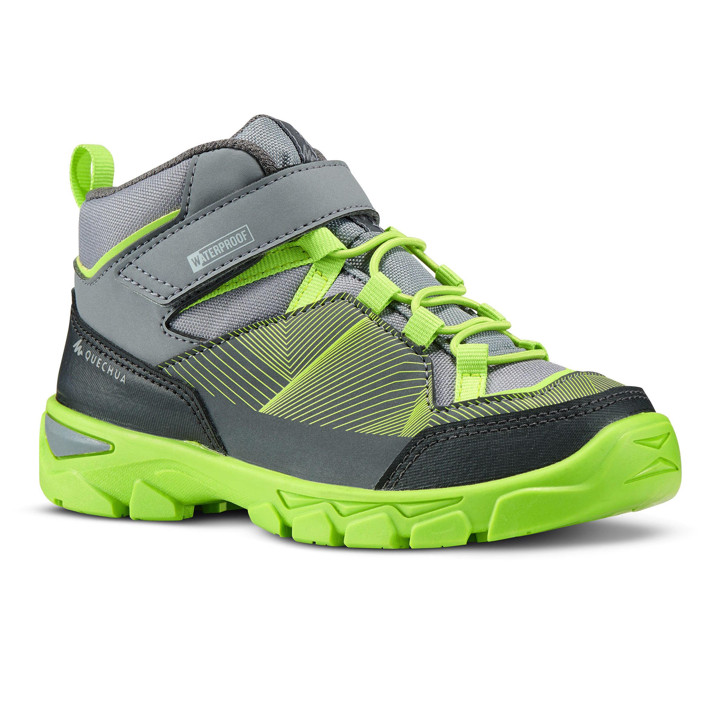 Quechua Hoge wandelschoenen met klittenband voor kinderen MH120 mid grijs 28 tot 34 kopen