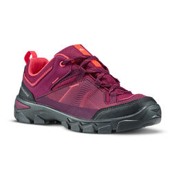 Kids' Velcro Hiking Shoes MH120 LOW 35 to 38 - Purple