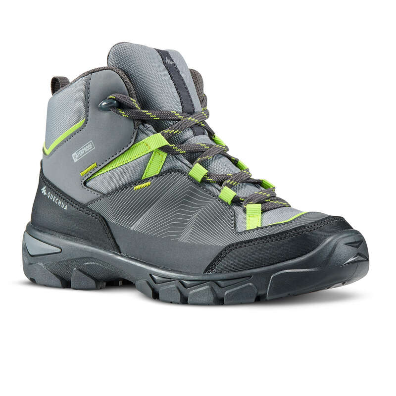 SHOES BOY Hiking - SH MH120 MID - GREY QUECHUA - Outdoor Shoes