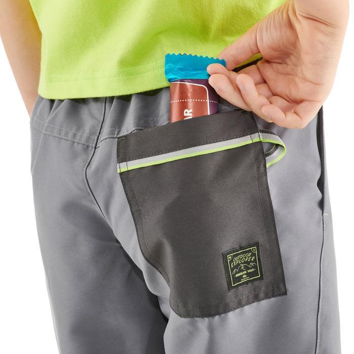 男童款健行短褲Hike 100-灰色