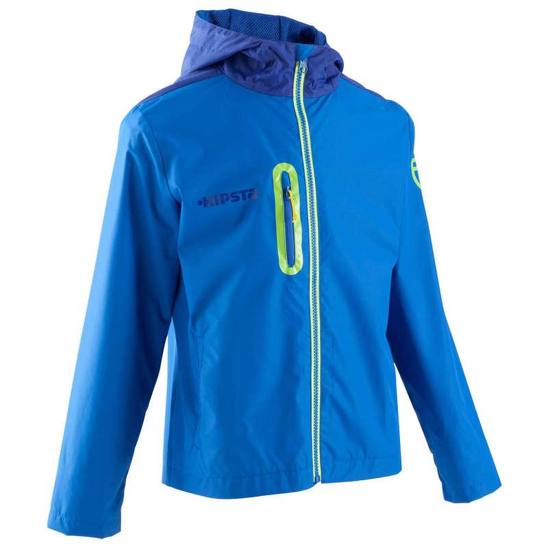 JR COLD WEATHER OUTFIT Football - T500 Kids raining jacket - light blue  KIPSTA - Football Clothing