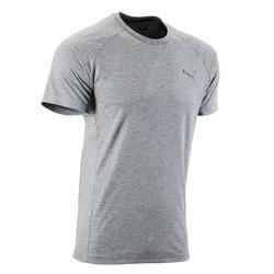 T-Shirt Evostripe 500 Pilates sanfte Gym Herren grau