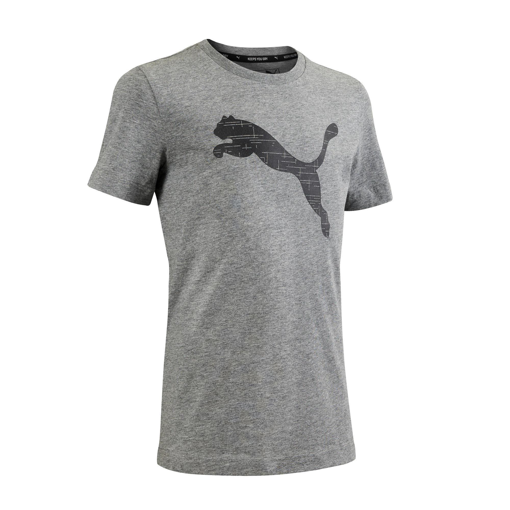 Puma T-shirt grijs regular fit groot logo katoen PUMA