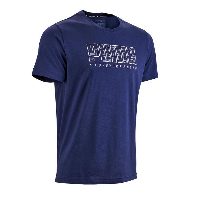 Heren T-shirt Puma Summer 100 voor pilates en lichte gym blauw