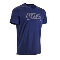 T-Shirt 100 Pilates sanfte Gym Herren blau
