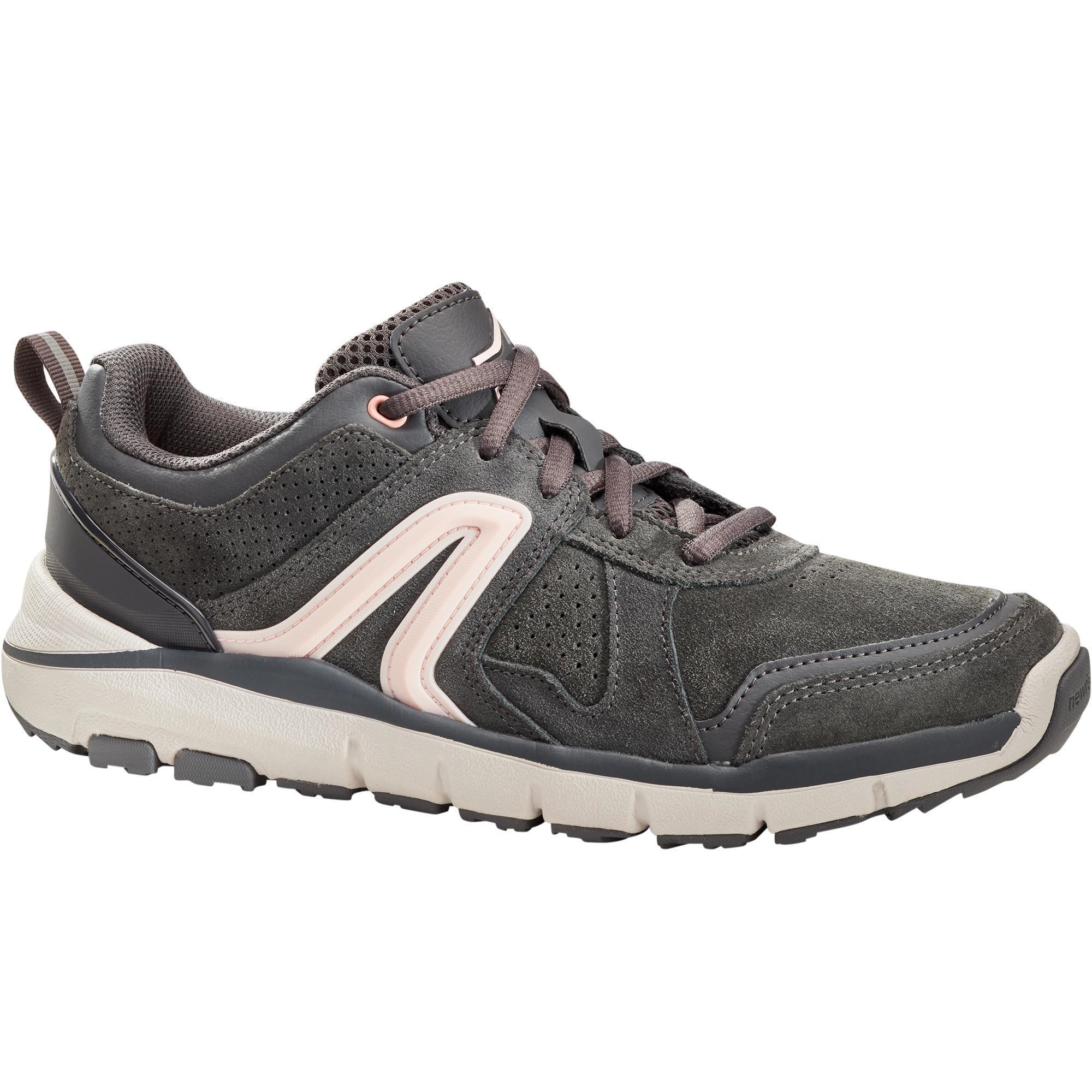 Walkingschuhe HW 540 Leder Damen dunkelgrau | Schuhe > Sportschuhe > Walkingschuhe | Newfeel