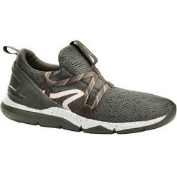 Chaussures marche sportive femme PW 140 kaki / rose