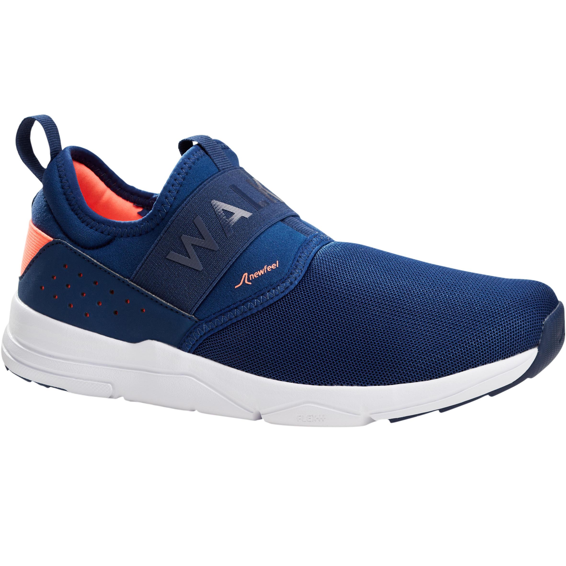 Newfeel Damessneakers voor sportief wandelen PW160 Slip-On marineblauw