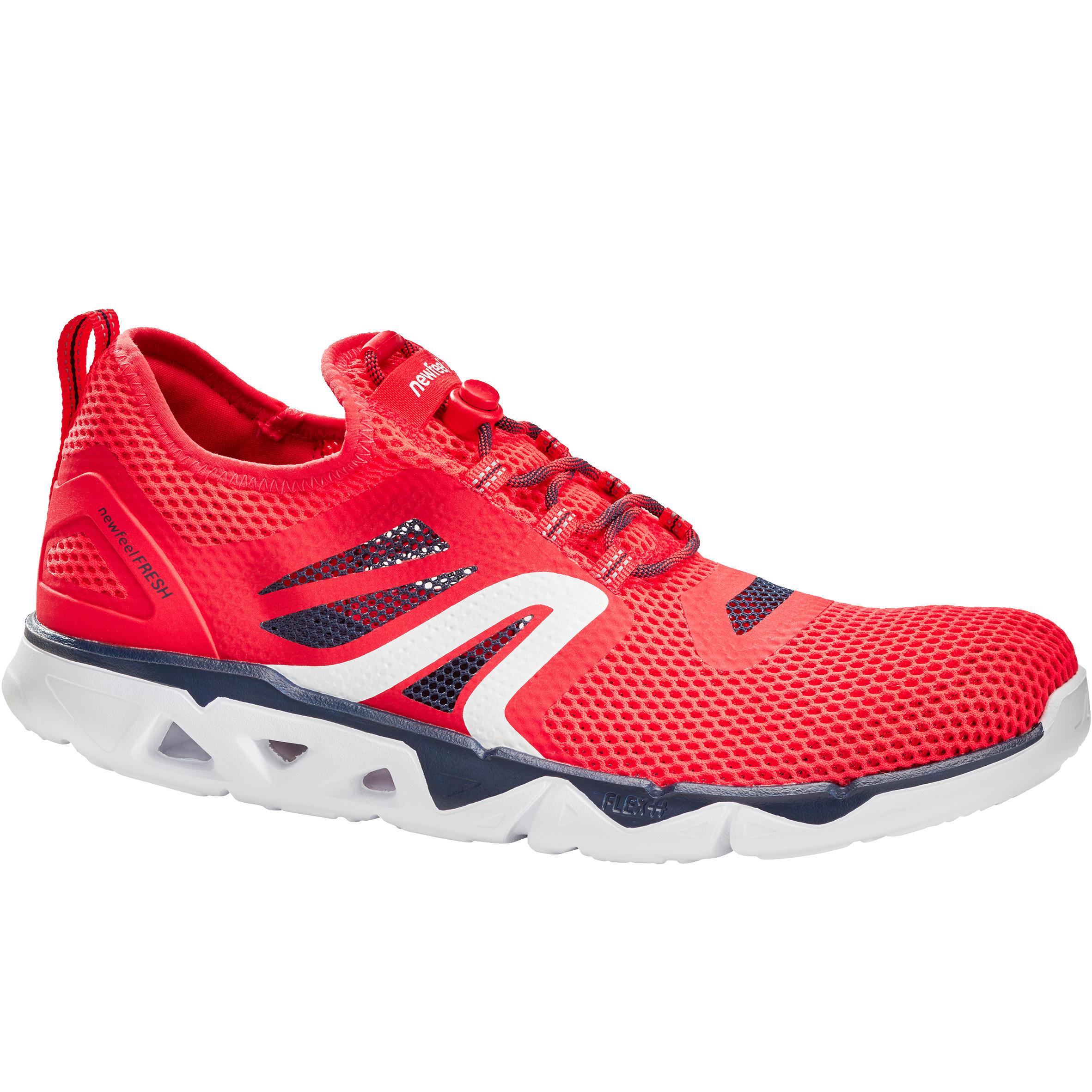 Newfeel Herensneakers voor sportief wandelen PW 500 Fresh rood