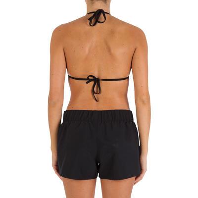 Boardshort femme TANA uni noir avec ceinture élastiquée