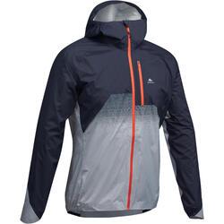 Regenjack voor fast hiking FH900 Hybride heren blauw-grijs