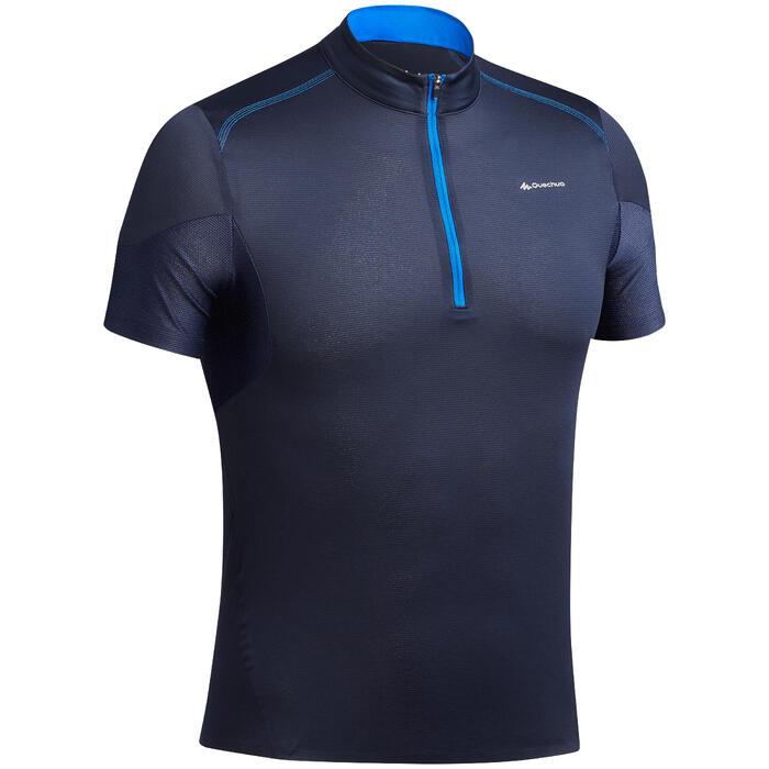 Camiseta de manga corta senderismo rápido Hombre FH500 HELIUM Azul marino