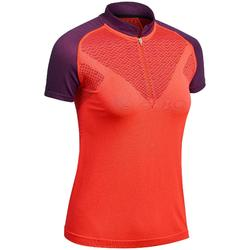 Naadloos dames T-shirt met korte mouwen voor fast hiking FH900 rood pruim
