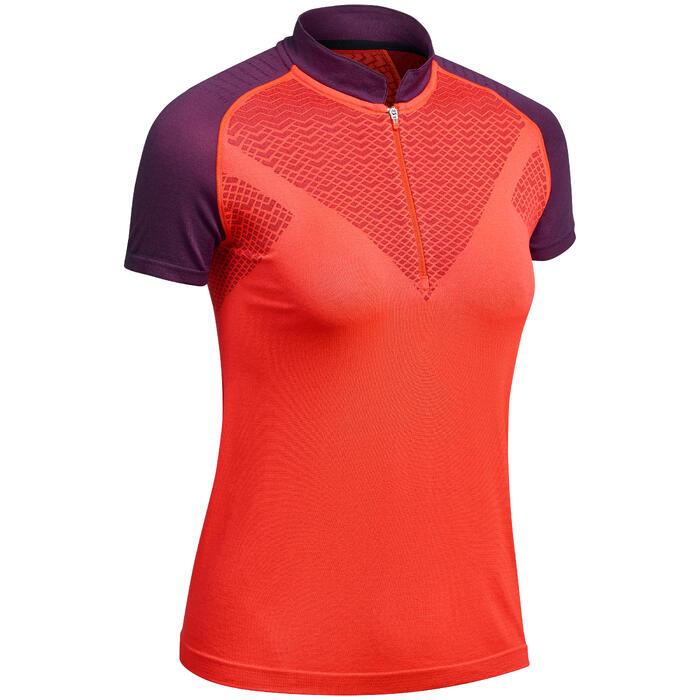 T-shirt seamless manches courtes de randonnée rapide FH900 femme rouge prune