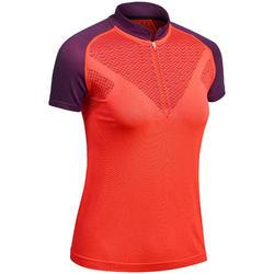Dames T-shirt seamless met korte mouwen voor fast hiking FH900 rood pruim