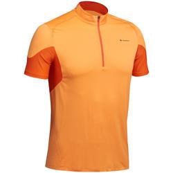 Heren T-shirt met korte mouwen voor fast hiking FH500 Helium oranje