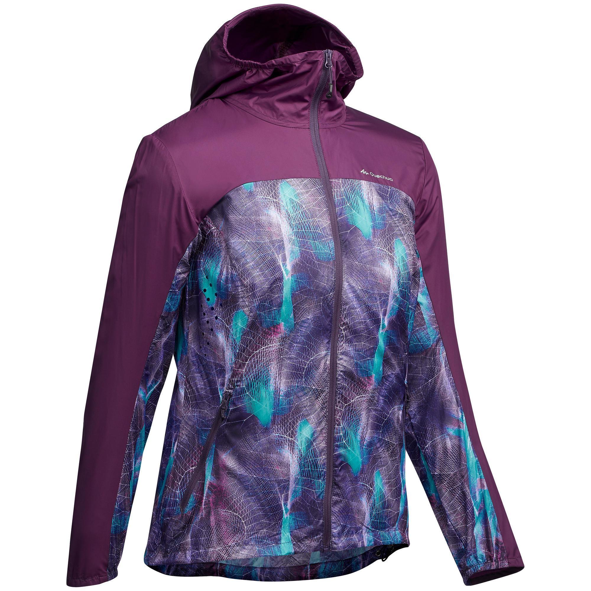 Windjacke Speed Hiking FH500 Helium Damen lila   Sportbekleidung > Sportjacken > Windbreaker   Violett - Blau - Türkis   Fleece   Quechua