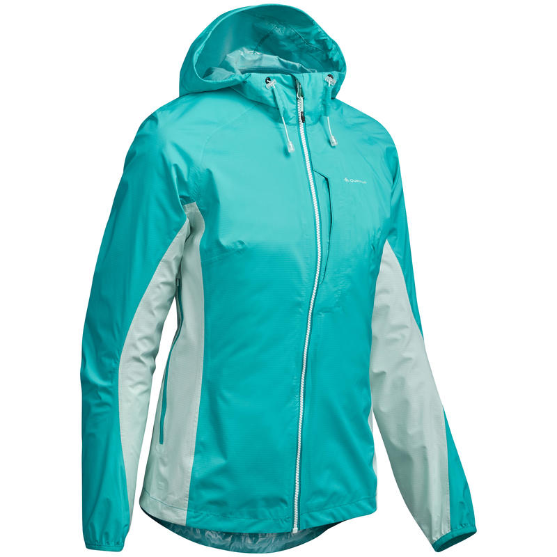 FH500 Helium Women's Waterproof Fast Hiking Rain Jacket - Caribbean Blue