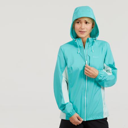 FH500 Jaket Hujan Mendaki Cepat Tahan Air Wanita Helium - Biru Karibia