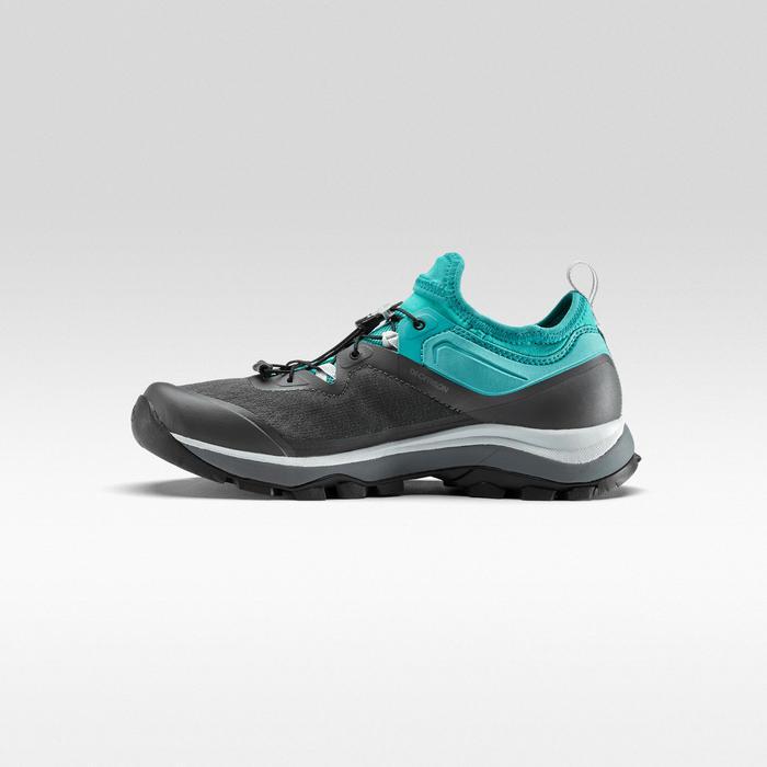 女款極速健行靴FH500-灰色/綠色/淺碧藍色
