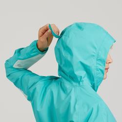 Dames regenjack voor fast hiking FH500 Helium Rain Caribisch blauw