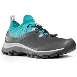 Schoenen voor fast hiking dames FH500 grijs/groen/turquoise