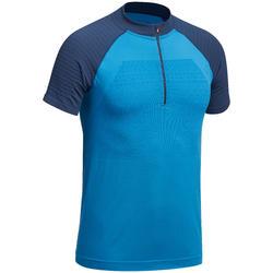 Heren T-shirt met korte mouwen voor fast hiking FH900 blauw