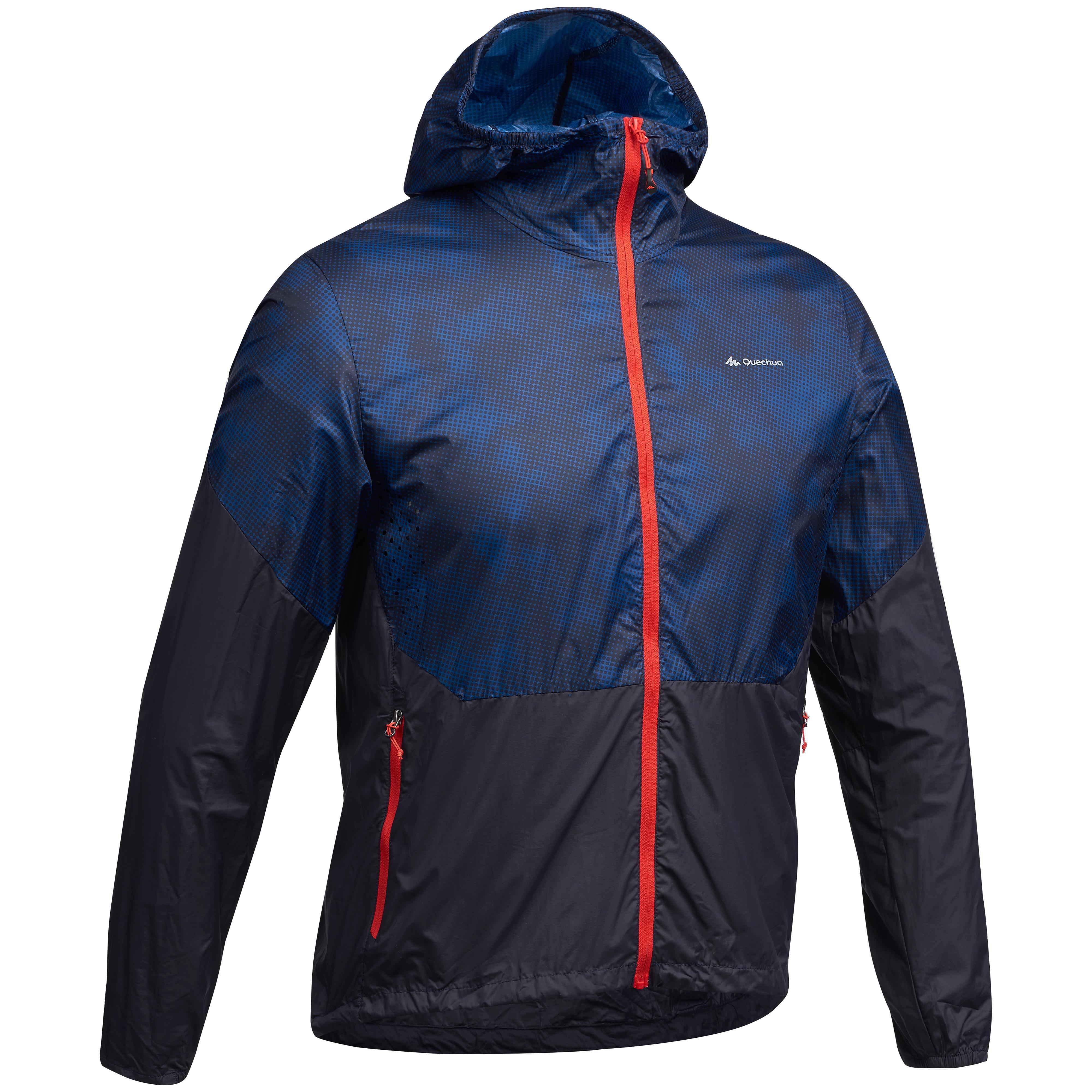 Quechua Heren windjack voor fast hiking FH500 Helium blauw/rood