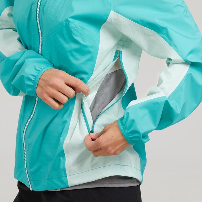 Chaqueta impermeable de senderismo rápido Mujer FH500 Helium Rain Azul caribe