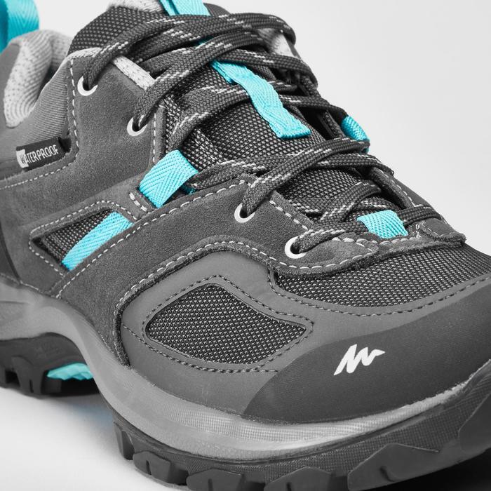Zapatillas de senderismo montaña mujer MH100 impermeables Gris/Azul
