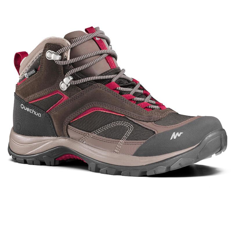 Women's waterproof mountain walking boots - MH100 Mid - Brown
