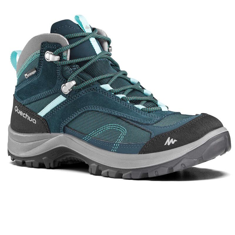 WOMEN MOUNTAIN HIKING SHOES Hiking - MH100 Mid Womens Waterproof Walking Boots - Turquoise  QUECHUA - Outdoor Shoes