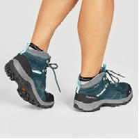 Chaussures de randonnée montagne femme MH100 mi-hautes imperméables Turquoise
