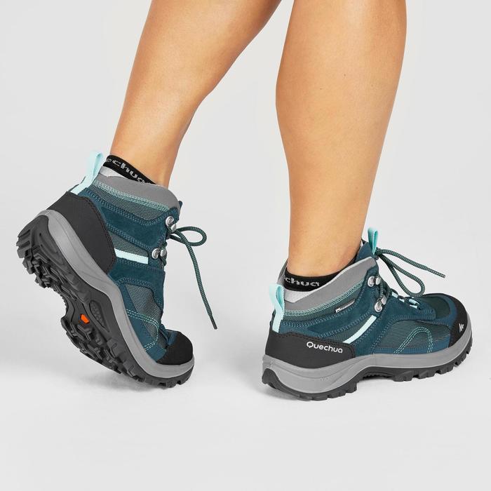 Chaussures de randonnée montagne femme MH100 Mid imperméables Turquoise