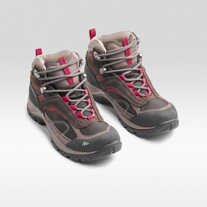 Chaussures imperméables de randonnée montagne - MH100 Mid Marron - Femme