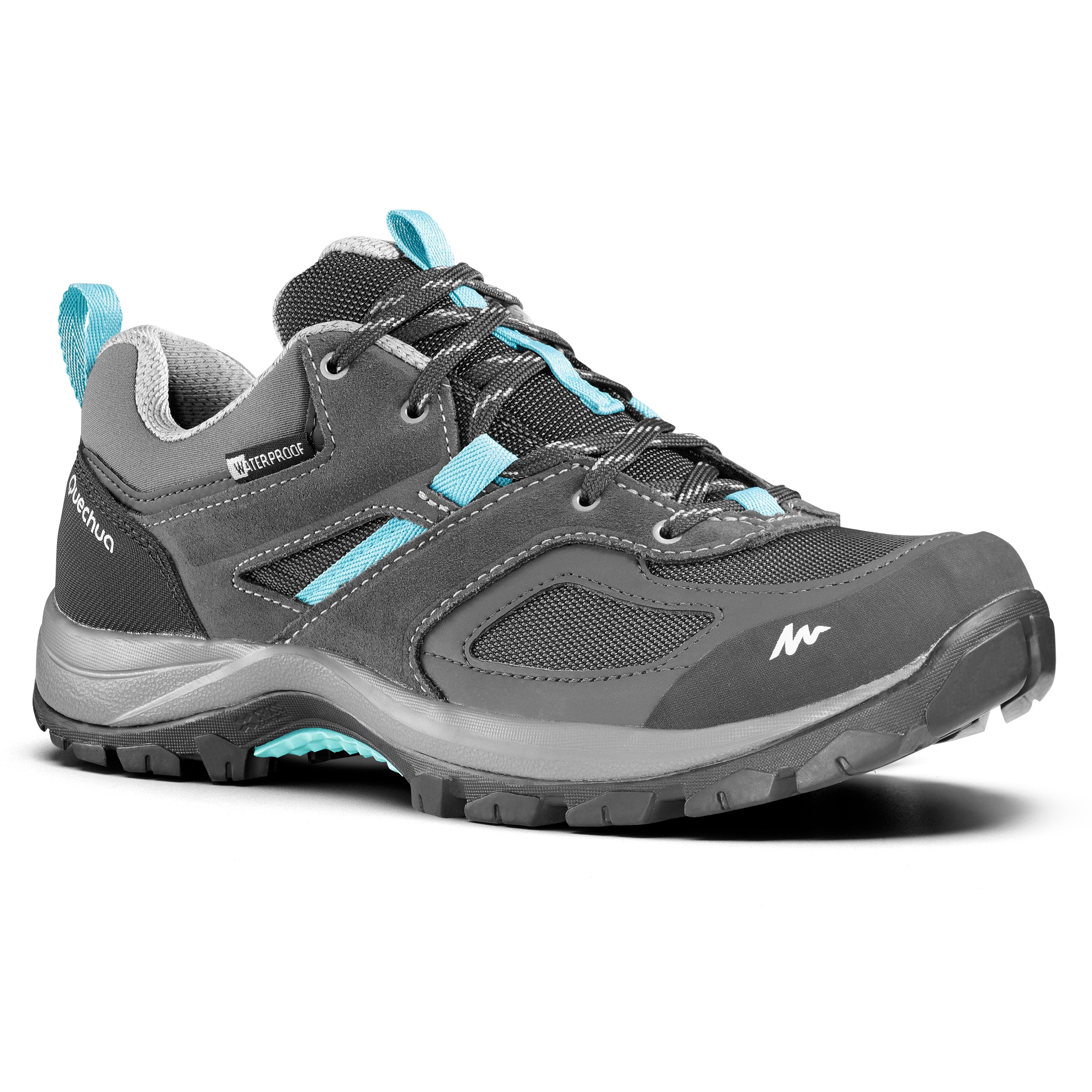 Chaussures de randonnée montagne femme MH100 imperméables Gris Bleu - Quechua