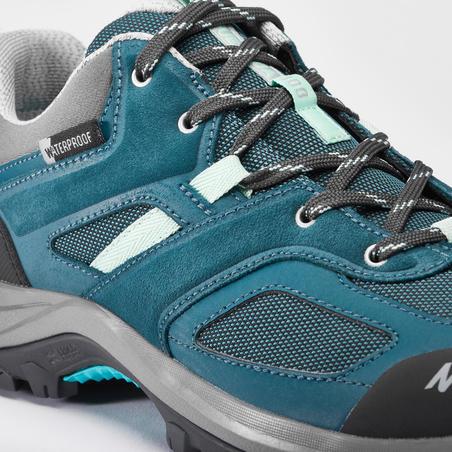 Women's Waterproof Mountain Hiking Shoes MH100 - Turquoise