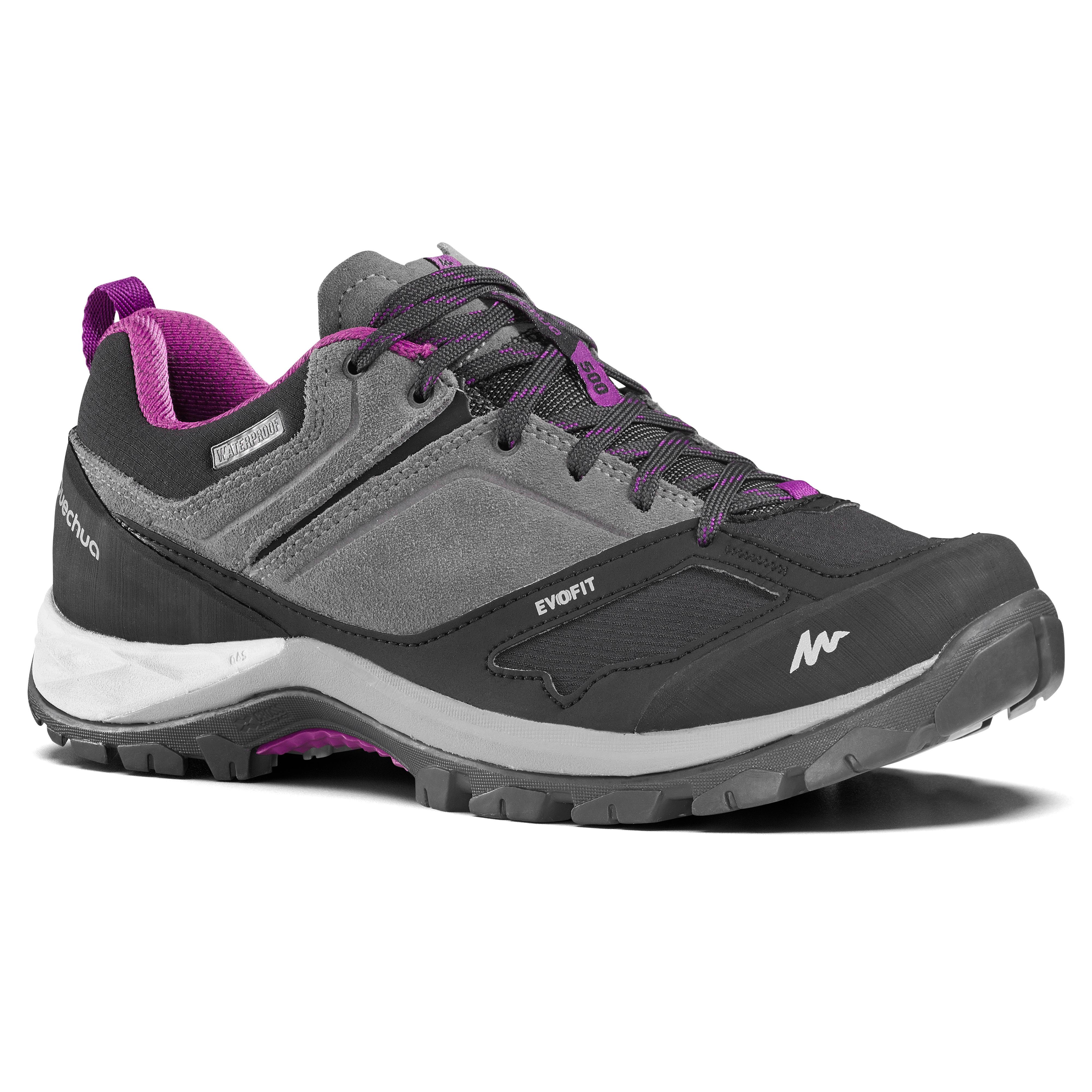 Chaussures de randonnée montagne femme MH500 imperméables Gris Violet - Quechua