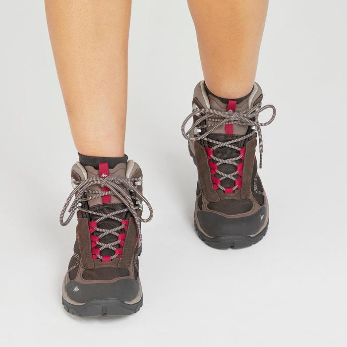 Botas impermeables de senderismo montaña - MH100 Mid Marrón - Mujer
