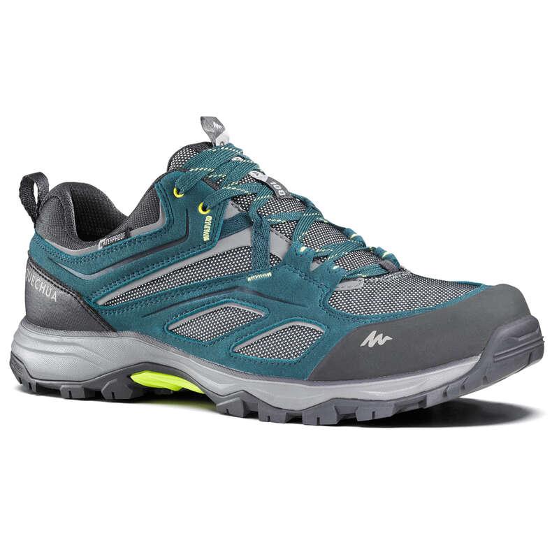 MEN MOUNTAIN HIKING SHOES Hiking - MH100 Mens Waterproof Walking Shoes - Green QUECHUA - Outdoor Shoes