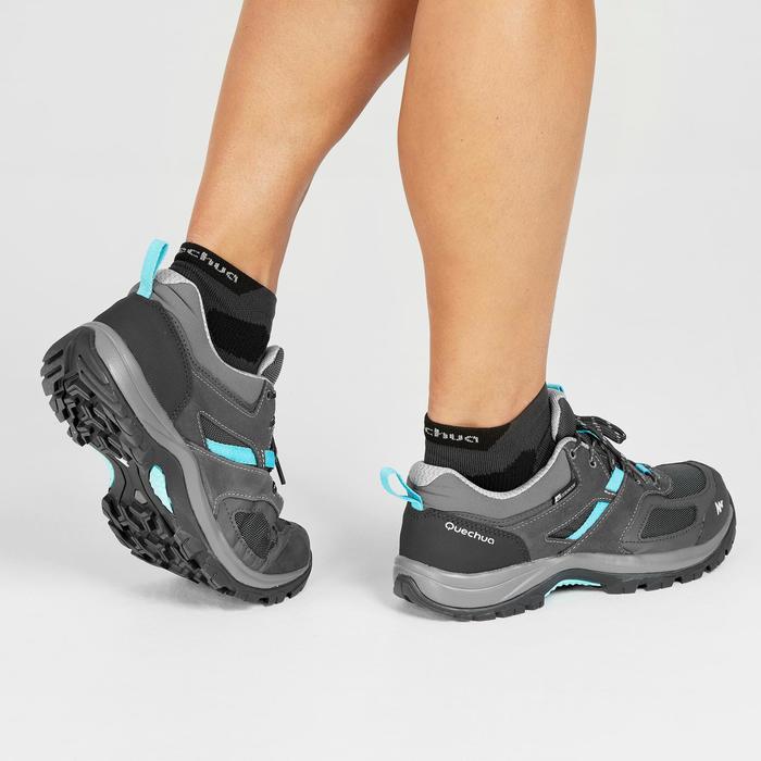 Chaussures de randonnée montagne femme MH100 imperméables Gris Bleu