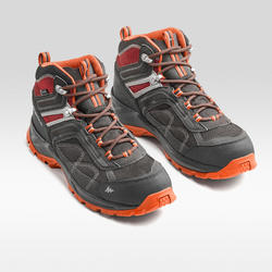 Men's mountain walking waterproof shoes MH100 Mid – Grey Orange