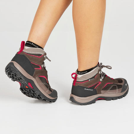 Women's Mid Waterproof Mountain Hiking Shoes MH100 - Brown