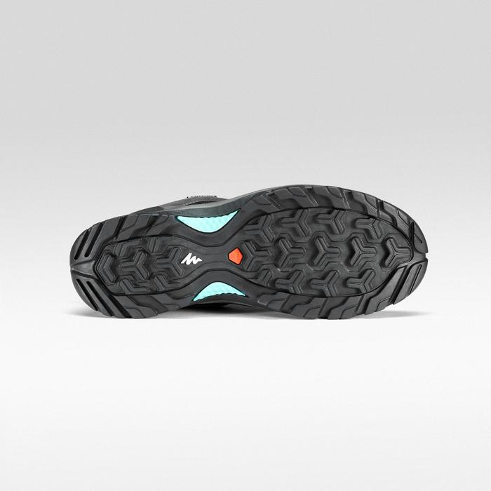 女款防水登山健行鞋MH100-灰色/藍色